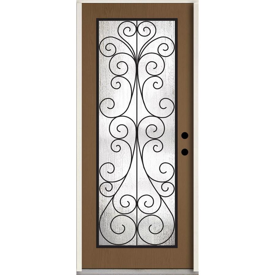 Shop reliabilt decorative glass left hand inswing woodhaven stained fiberglass prehung entry for Reliabilt decorative glass interior doors