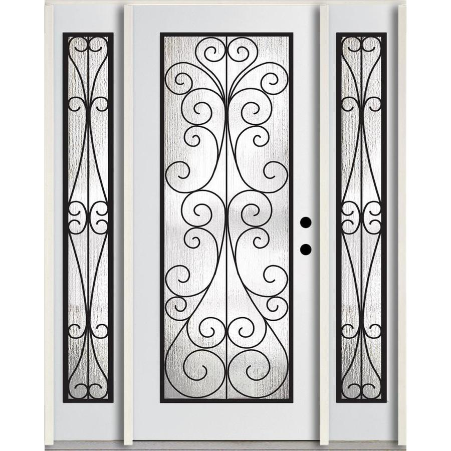 ReliaBilt Decorative Glass Left-Hand Inswing Modern White Painted Fiberglass Prehung Entry Door with Sidelights and Insulating Core (Common: 60-in x 80-in; Actual: 64.5-in x 81.75-in)