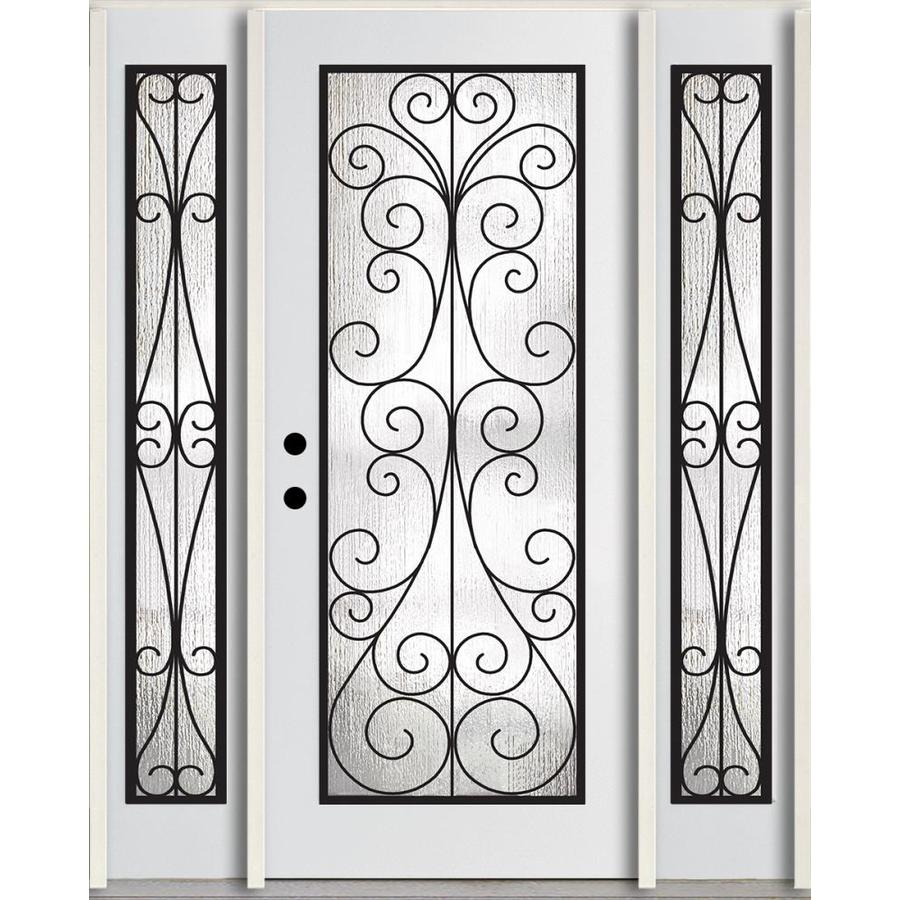 ReliaBilt Decorative Glass Right-Hand Inswing Modern White Painted Fiberglass Prehung Entry Door with Sidelights and Insulating Core (Common: 60-in x 80-in; Actual: 64.5-in x 81.75-in)
