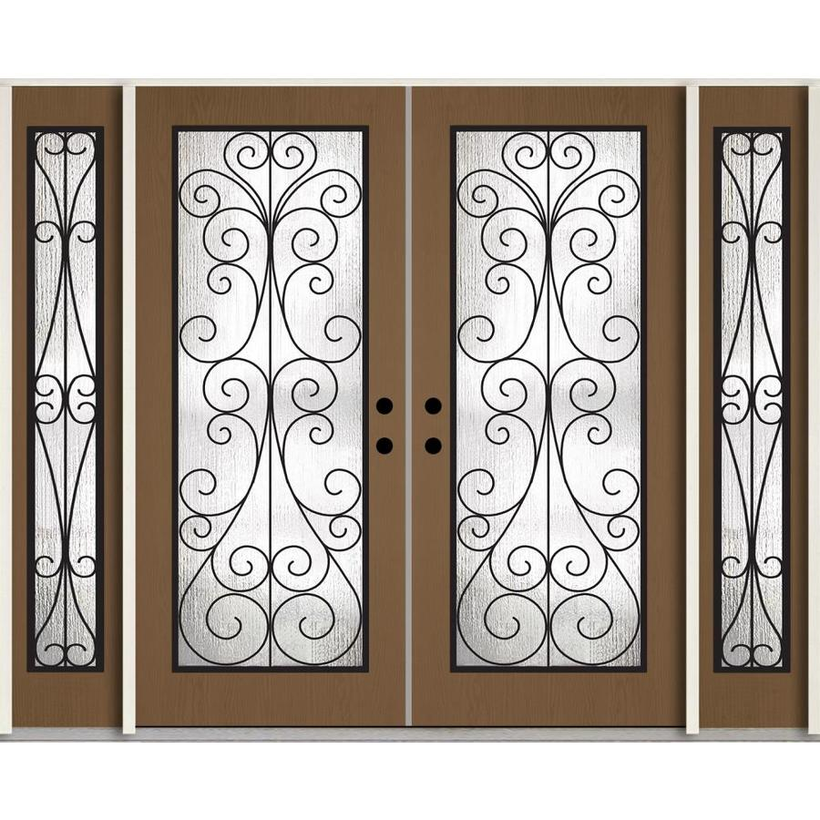 ReliaBilt Decorative Glass Left-Hand Inswing Woodhaven Stained Fiberglass Prehung Double Entry Door with Sidelights and Insulating Core (Common: 96-in x 80-in; Actual: 100.875-in x 81.75-in)