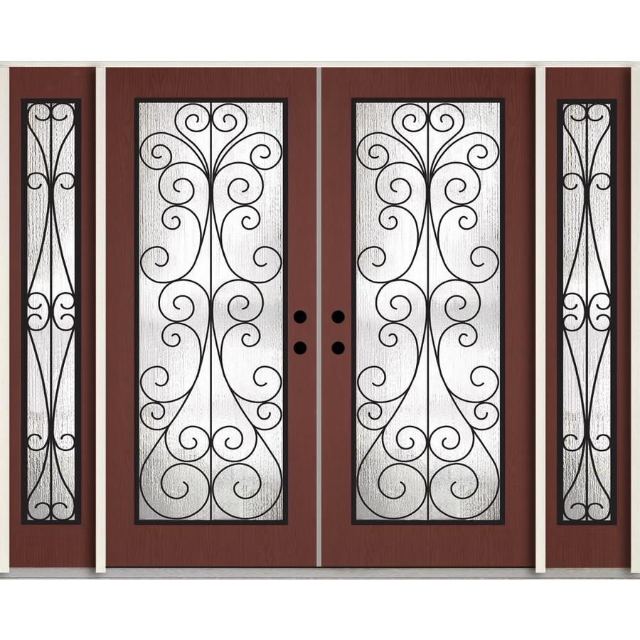 ReliaBilt Decorative Glass Right-Hand Inswing Wineberry Stained Fiberglass Prehung Double Entry Door with Sidelights and Insulating Core (Common: 96-in x 80-in; Actual: 100.875-in x 81.75-in)