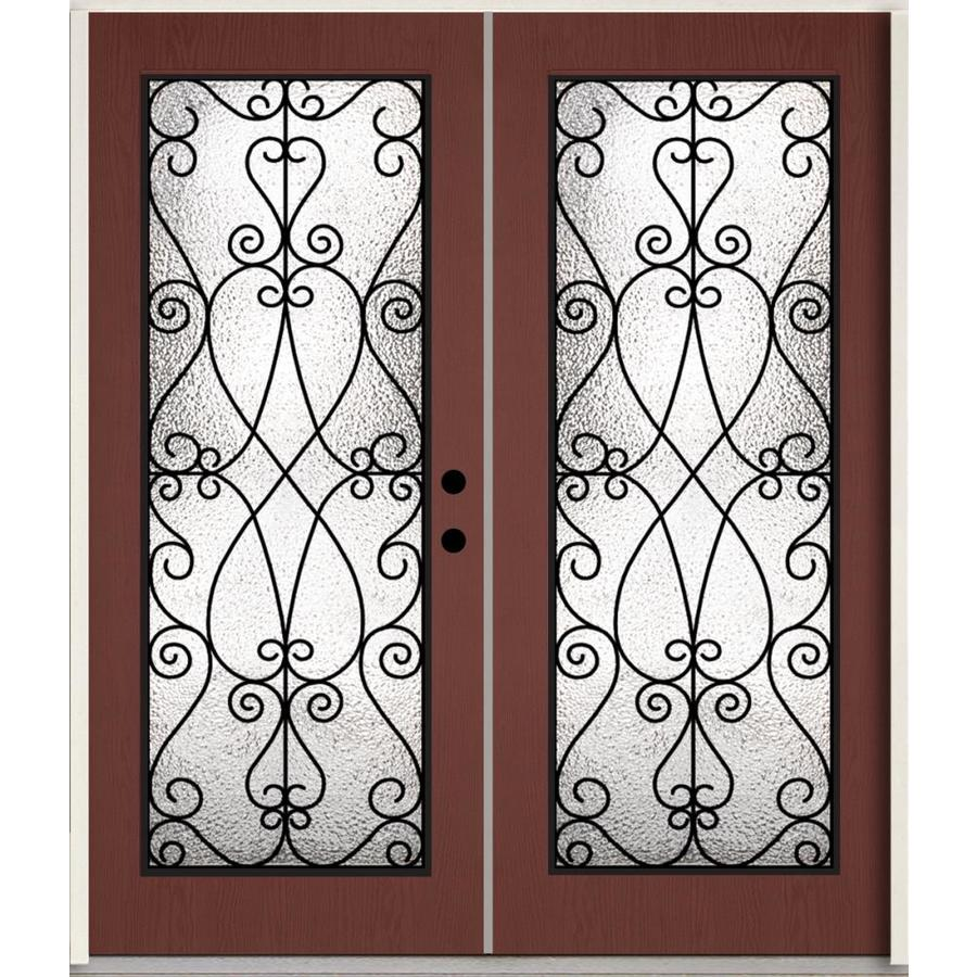 ReliaBilt Decorative Glass Left-Hand Inswing Wineberry Stained Fiberglass Prehung Double Entry Door with Insulating Core (Common: 72-in x 80-in; Actual: 73.785-in x 81.75-in)