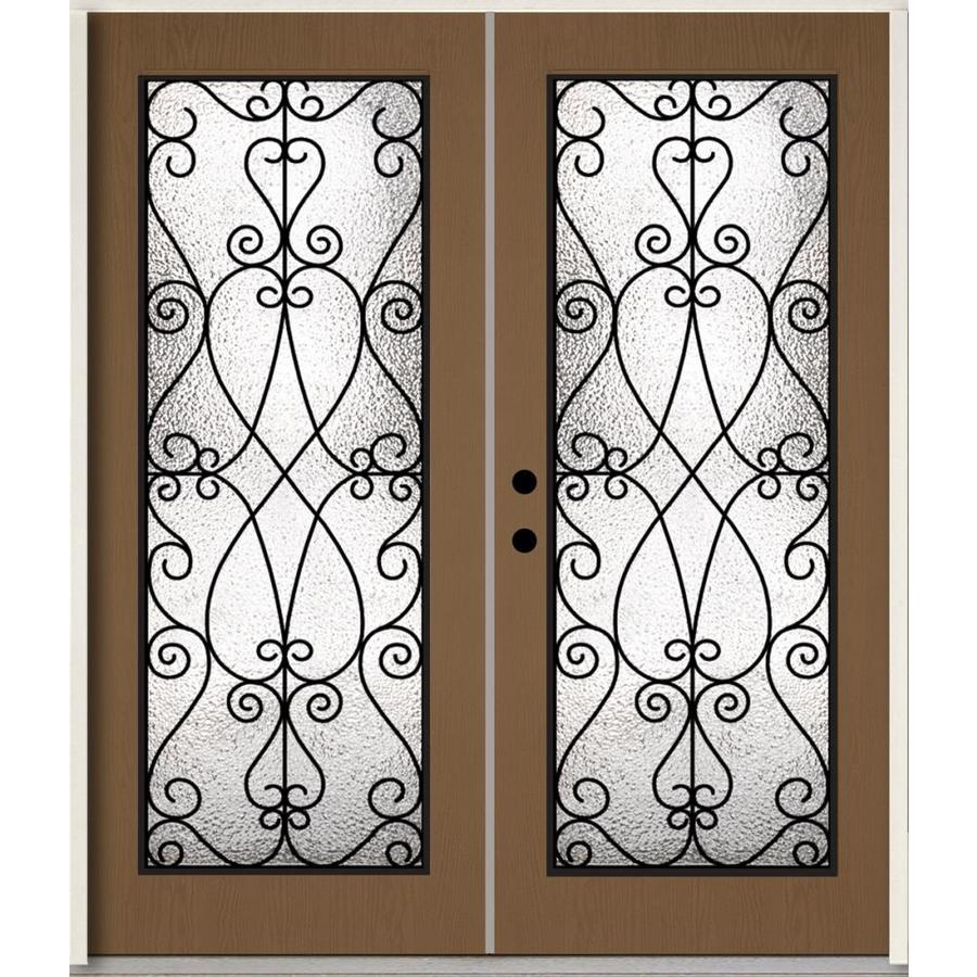 ReliaBilt Decorative Glass Right-Hand Inswing Woodhaven Stained Fiberglass Prehung Double Entry Door with Insulating Core (Common: 72-in x 80-in; Actual: 73.785-in x 81.75-in)