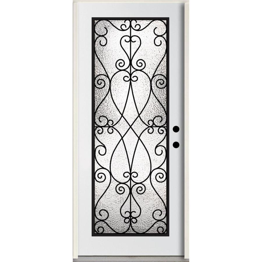 ReliaBilt Decorative Glass Left-Hand Inswing Modern White Painted Fiberglass Prehung Entry Door with Insulating Core (Common: 36-in x 80-in; Actual: 37.5-in x 81.75-in)