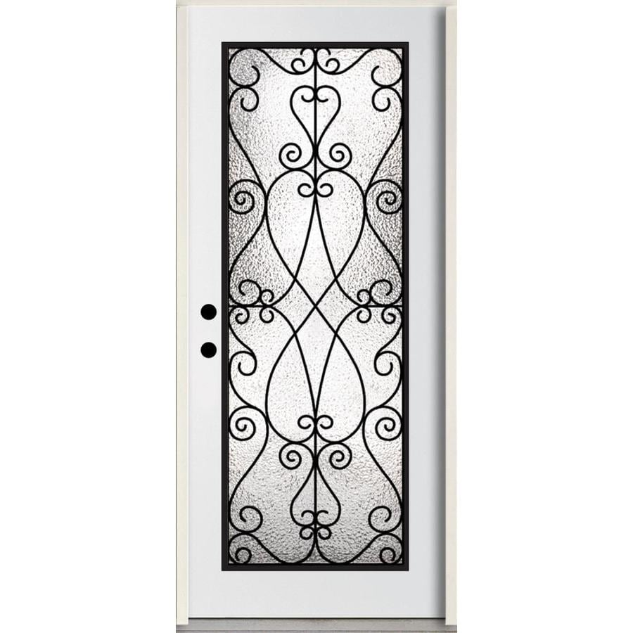 ReliaBilt Decorative Glass Right-Hand Inswing Modern White Painted Fiberglass Prehung Entry Door with Insulating Core (Common: 36-in x 80-in; Actual: 37.5-in x 81.75-in)