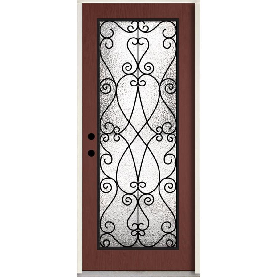 ReliaBilt Decorative Glass Right-Hand Inswing Wineberry Stained Fiberglass Prehung Entry Door with Insulating Core (Common: 36-in x 80-in; Actual: 37.5-in x 81.75-in)