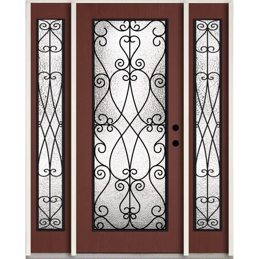 ReliaBilt Decorative Glass Left-Hand Inswing Wineberry Stained Fiberglass Prehung Entry Door with Sidelights and Insulating Core (Common: 60-in x 80-in; Actual: 64.5-in x 81.75-in)