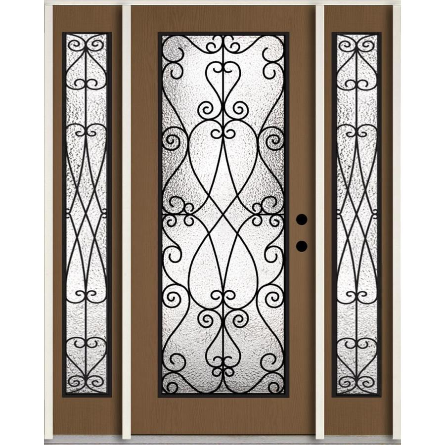 ReliaBilt Decorative Glass Left-Hand Inswing Woodhaven Stained Fiberglass Prehung Entry Door with Sidelights and Insulating Core (Common: 60-in x 80-in; Actual: 64.5-in x 81.75-in)