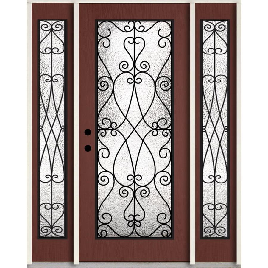 ReliaBilt Decorative Glass Right-Hand Inswing Wineberry Stained Fiberglass Prehung Entry Door with Sidelights and Insulating Core (Common: 60-in x 80-in; Actual: 64.5-in x 81.75-in)