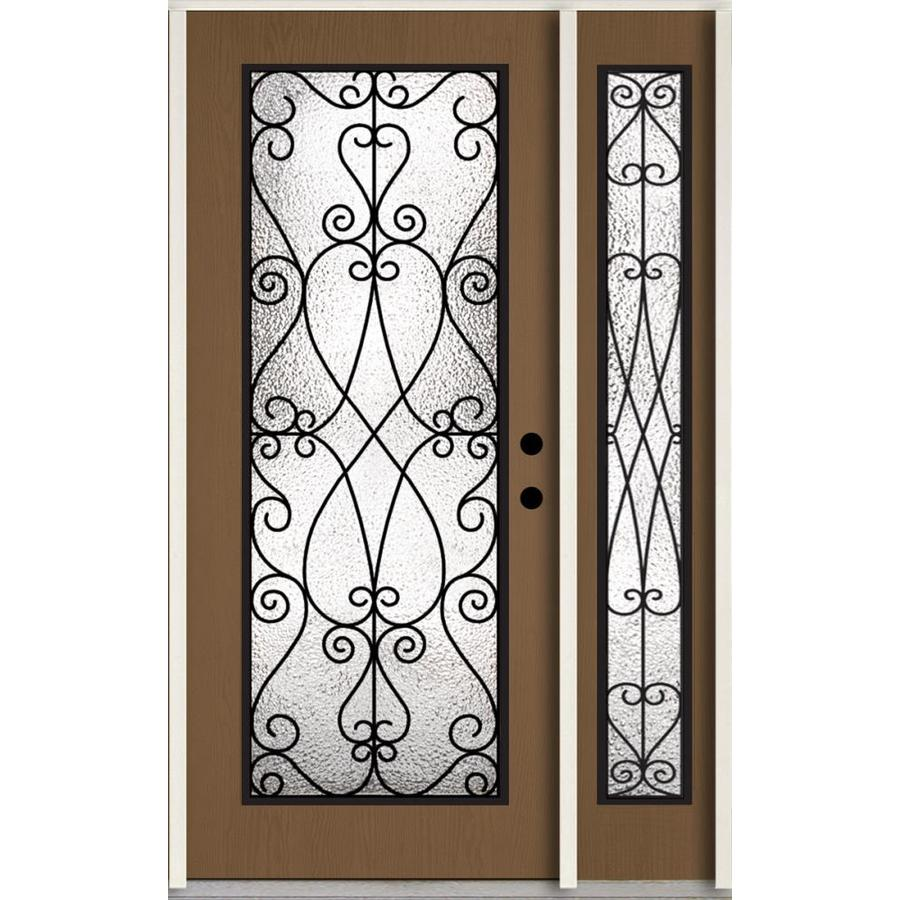 ReliaBilt Decorative Glass Left-Hand Inswing Woodhaven Stained Fiberglass Prehung Entry Door with Left Sidelight and Insulating Core (Common: 48-in x 80-in; Actual: 51-in x 81.75-in)