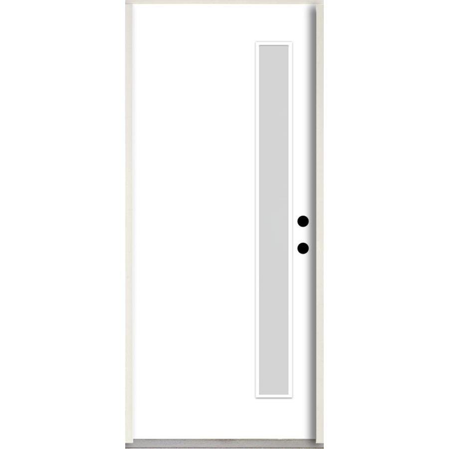 ReliaBilt 1/4 Lite Privacy Glass Left Hand Inswing Fiberglass Prehung Entry  Door With