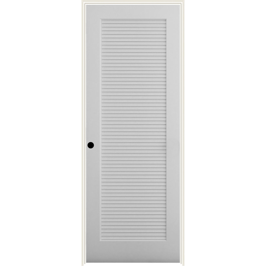 American Building Supply 9-in x 9-in Primed Louver Primed Pine Wood Right  Hand Inswing Single Prehung Interior Door