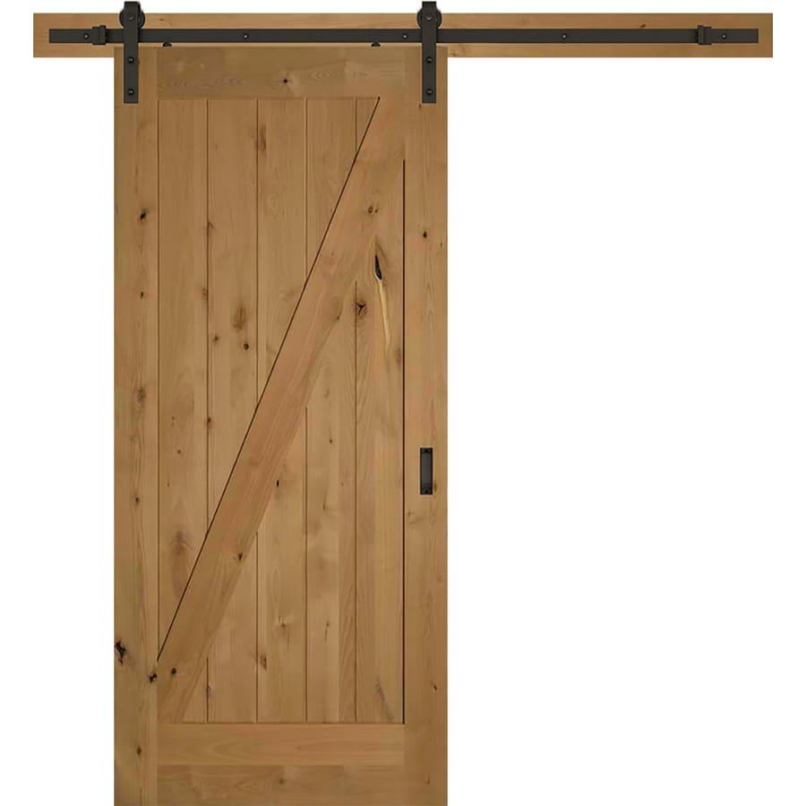 ReliaBilt Z-Barn Door Clear Stained Z-frame Wood Knotty Alder Barn on