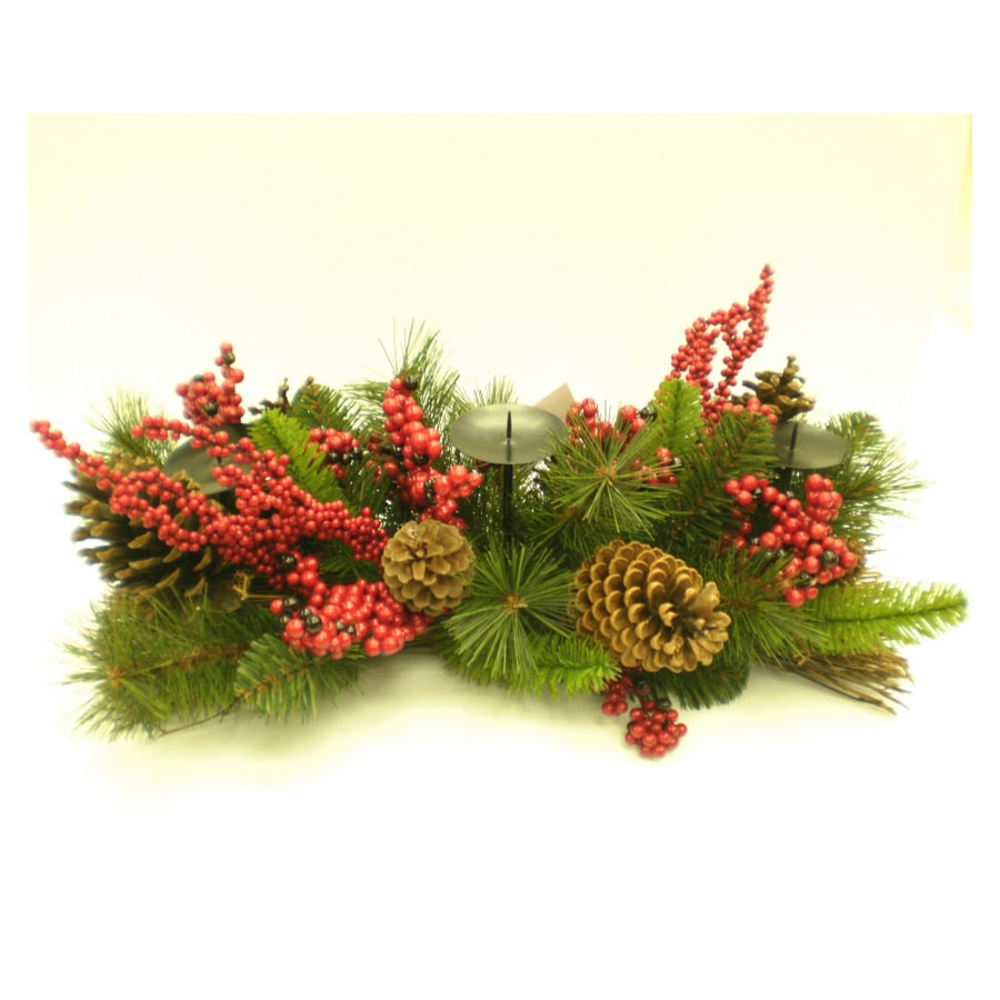 Shop holiday living red berry candle holder centerpiece at