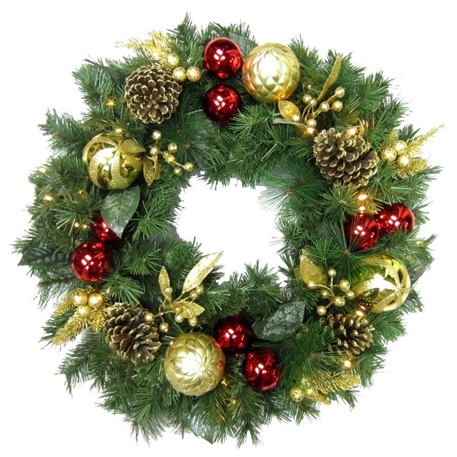 holiday living 30 in pre lit indooroutdoor battery operated red gold - Pre Lit Christmas Wreaths Battery Operated