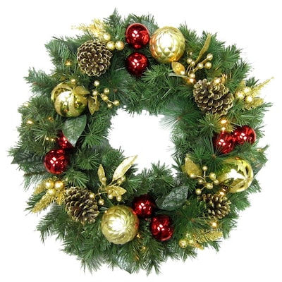 Gold Christmas Wreath.30 In Pre Lit Indoor Outdoor Battery Operated Red Gold Pine Artificial Christmas Wreath With Warm White Led Lights