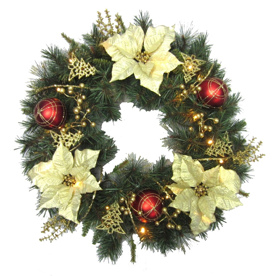 holiday living 30 in pre lit indooroutdoor battery operated gold red - Pre Lit Christmas Wreaths Battery Operated