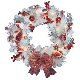 Holiday Living 30 in Pre lit Indoor Outdoor Battery operated White RedShop Artificial Christmas Wreaths at Lowes com. Outdoor Wreath With Led Lights. Home Design Ideas