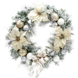 Holiday Living 30 In Pre Lit Battery Operated Gold Poinsettia Artificial Christmas Wreath