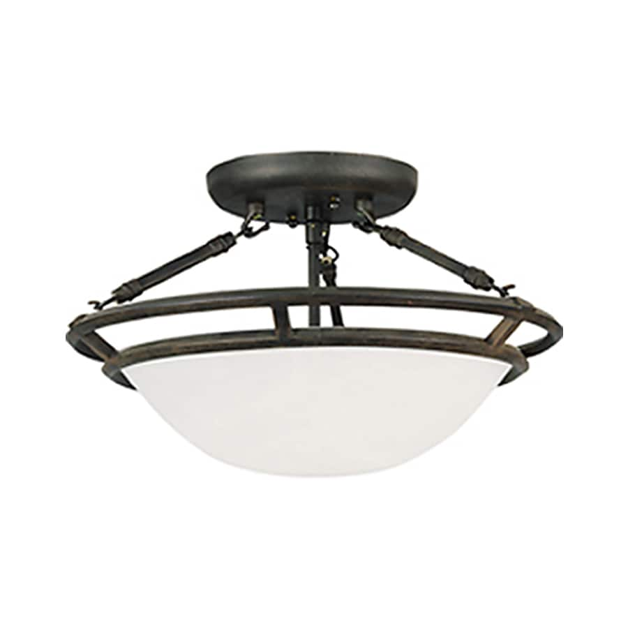 Pyramid Creations Stratus 14-in W Bronze Frosted Glass Semi-Flush Mount Light