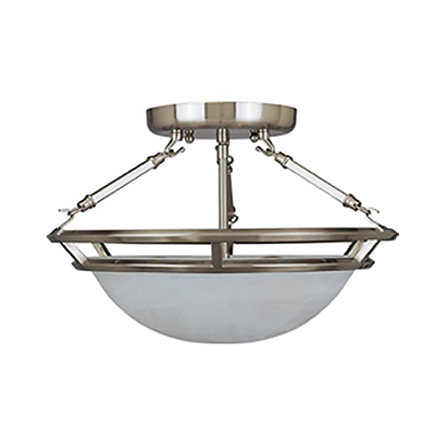 Pyramid Creations Stratus 14-in W Pewter Frosted Glass Semi-Flush Mount Light