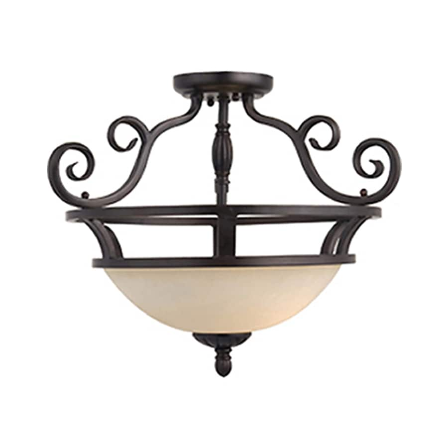 Pyramid Creations Manor 20-in W Oil-Rubbed bronze Frosted Glass Semi-Flush Mount Light