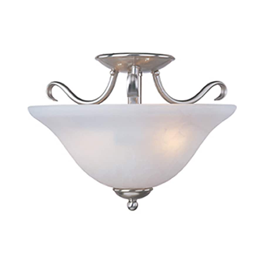 Pyramid Creations Basix 14-in W Satin-nickel Frosted Glass Semi-Flush Mount Light