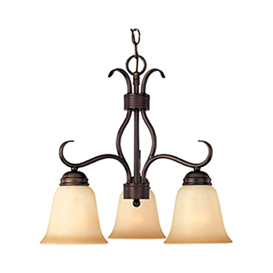 Pyramid Creations Basix 19-in 3-Light Oil-Rubbed Bronze Chandelier