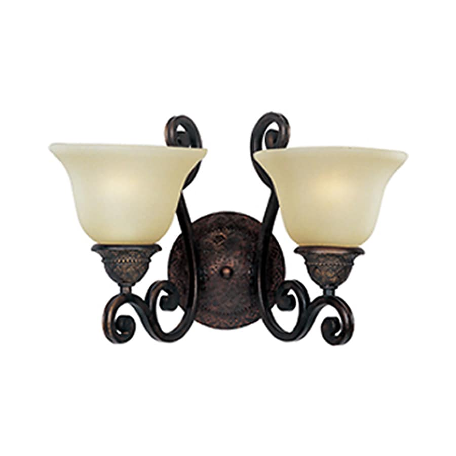 Symphony Wall Lights Black : Shop Pyramid Creations Symphony 16-in W 2-Light Bronze Arm Wall Sconce at Lowes.com