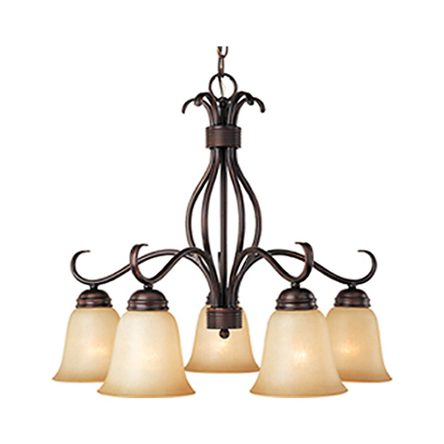 Pyramid Creations Basix 25-in 5-Light Oil-Rubbed Bronze Tinted Glass Standard Chandelier