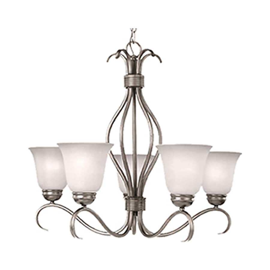 Pyramid Creations Basix 26-in 5-Light Satin Nickel Chandelier