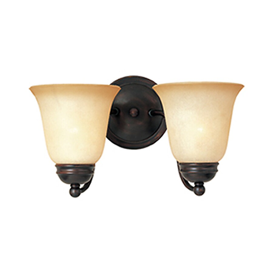 Pyramid Creations Basix 13.5-in W 2-Light Bronze Arm Wall Sconce