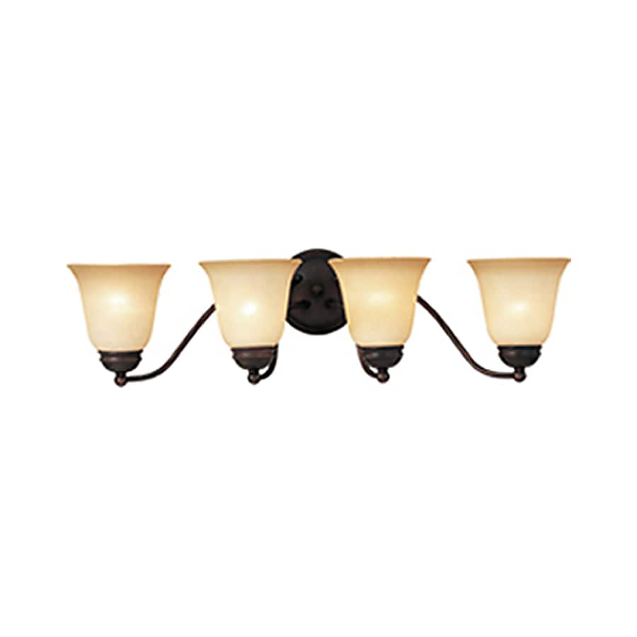 Pyramid Creations Basix 4-Light 8-in Oil-Rubbed Bronze Bell Vanity Light