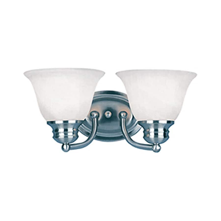 Pyramid Creations Malibu EE 2-Light 6-in Satin nickel Bell Vanity Light