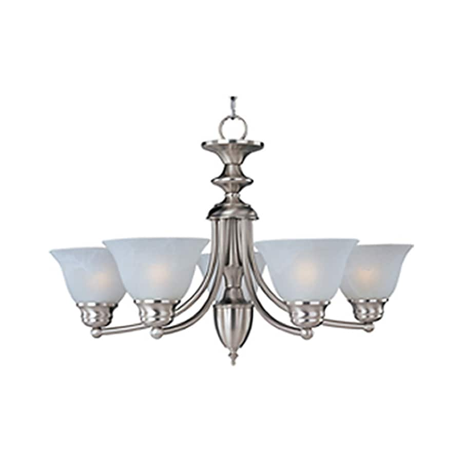 Pyramid Creations Malibu Ee 25-in 5-Light Satin Nickel Marbleized Glass Chandelier