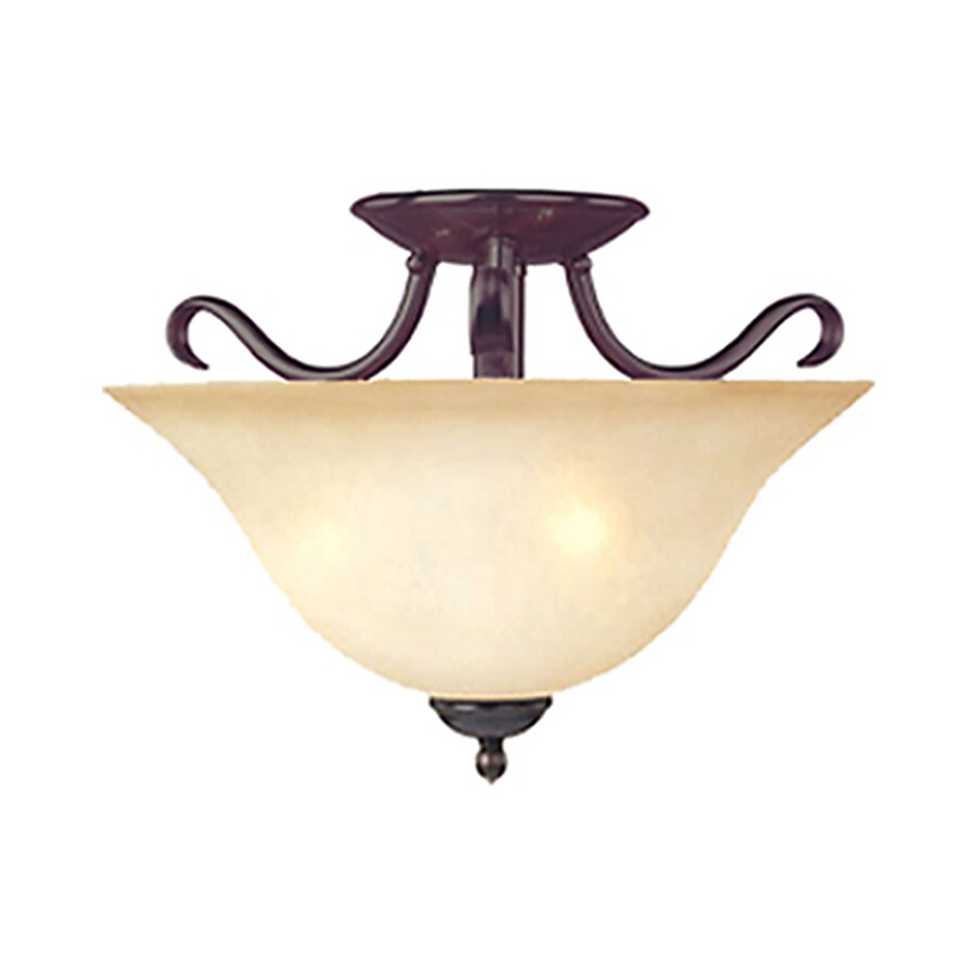 Pyramid Creations 14-in Oil-Rubbed Bronze Frosted Glass Semi-Flush Mount Light