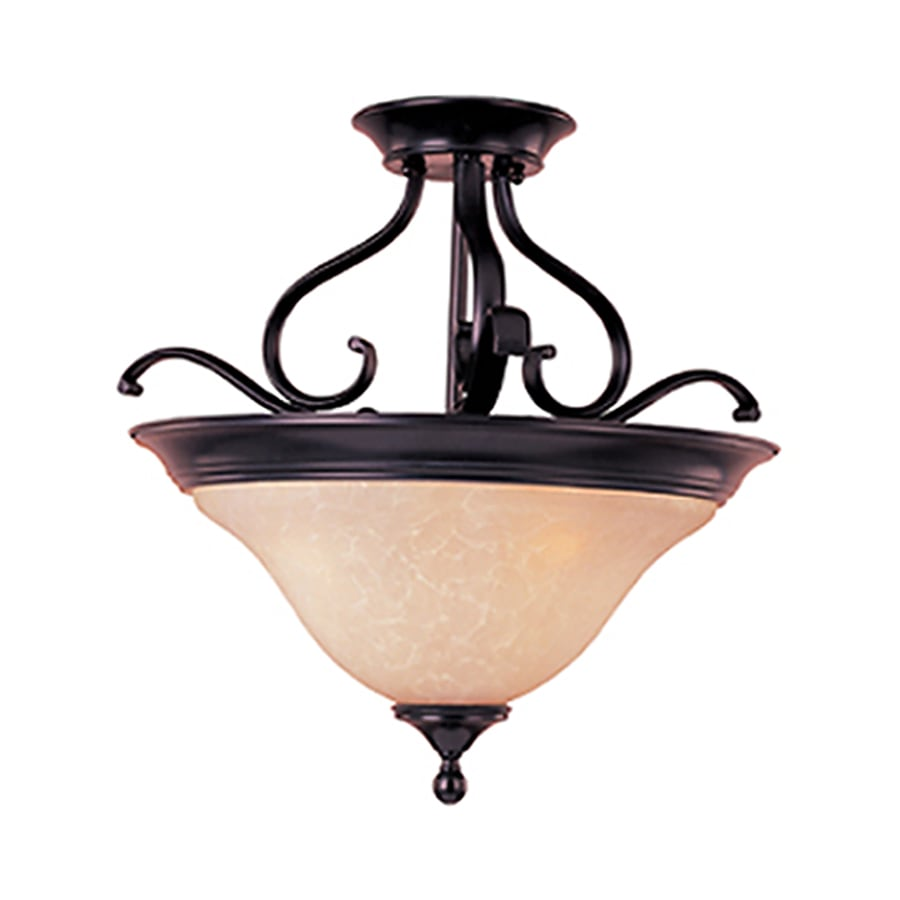 Pyramid Creations Linda Ee 19-in W Oil-Rubbed Bronze Frosted Glass Semi-Flush Mount Light