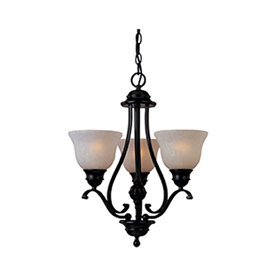 Pyramid Creations Linda Ee 19-in 3-Light Oil-Rubbed Bronze Tinted Glass Chandelier