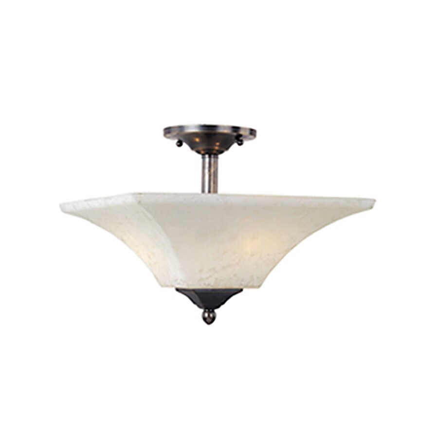 Pyramid Creations Mission Bay 13-in W Heirloom Brass Frosted Glass Semi-Flush Mount Light