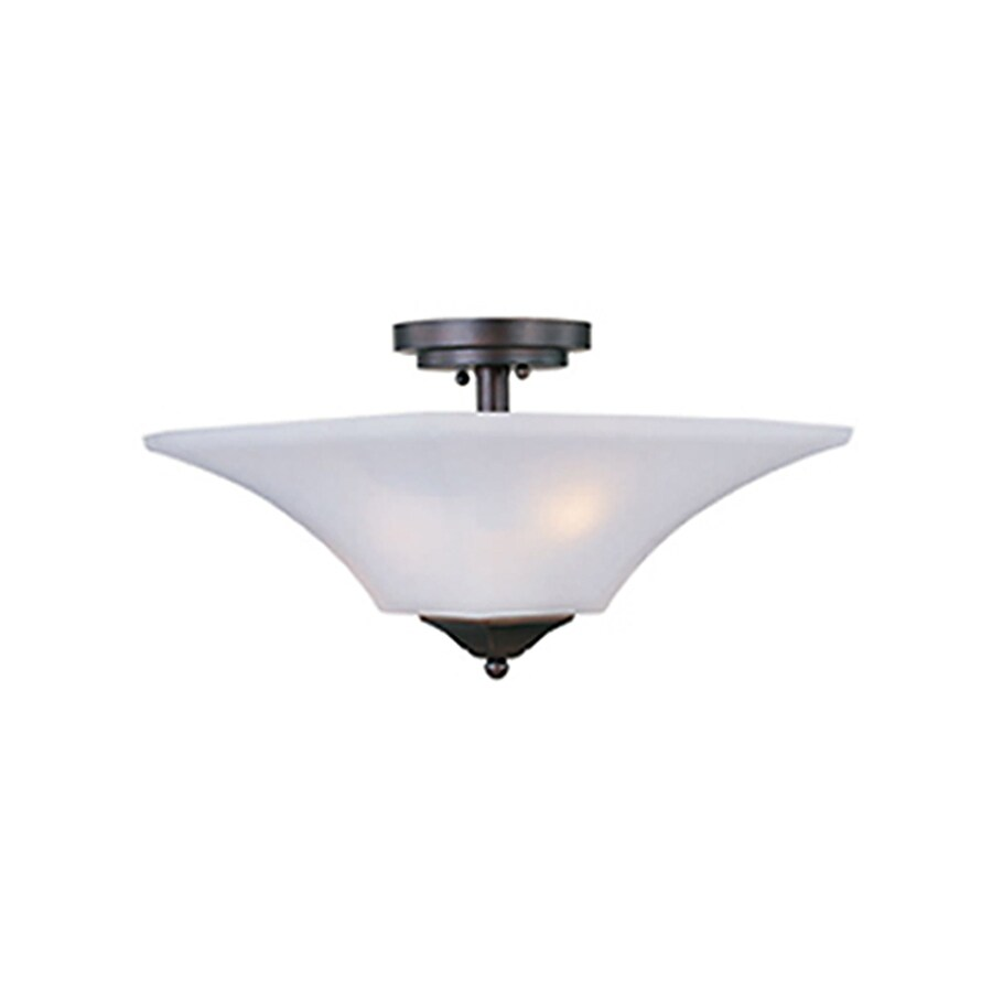 Pyramid Creations Aurora 13-in W Oil-Rubbed bronze Frosted Glass Semi-Flush Mount Light