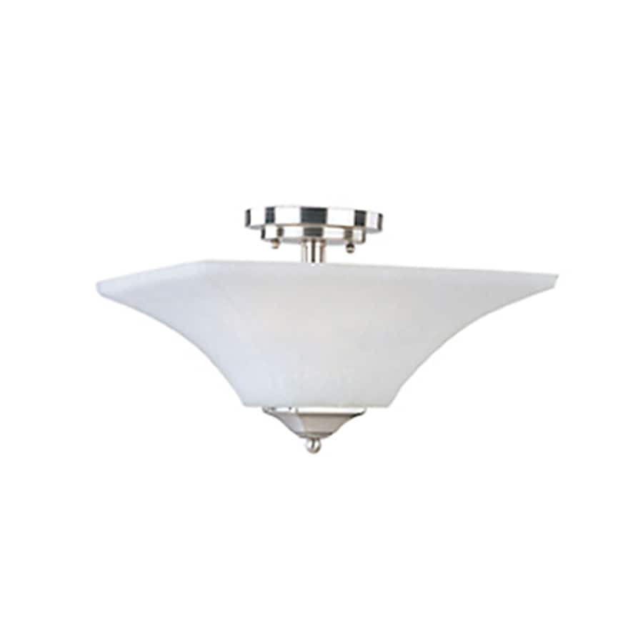 Pyramid Creations Aurora 13-in W Satin-Nickel Frosted Glass Semi-Flush Mount Light