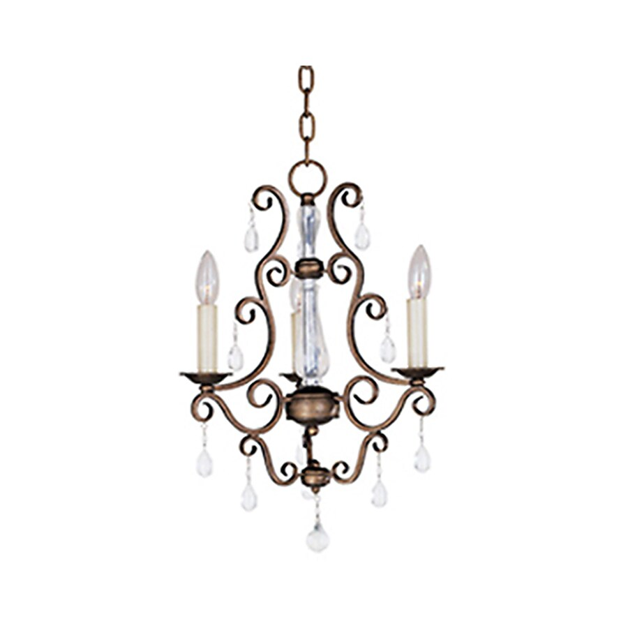 Pyramid Creations Hampton 15-in 3-Light Auburn dusk Chandelier