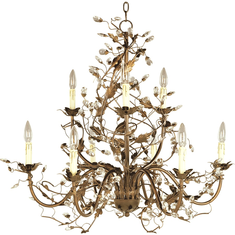 Pyramid Creations Elegante 29-in 9-Light Etruscan Gold Chandelier