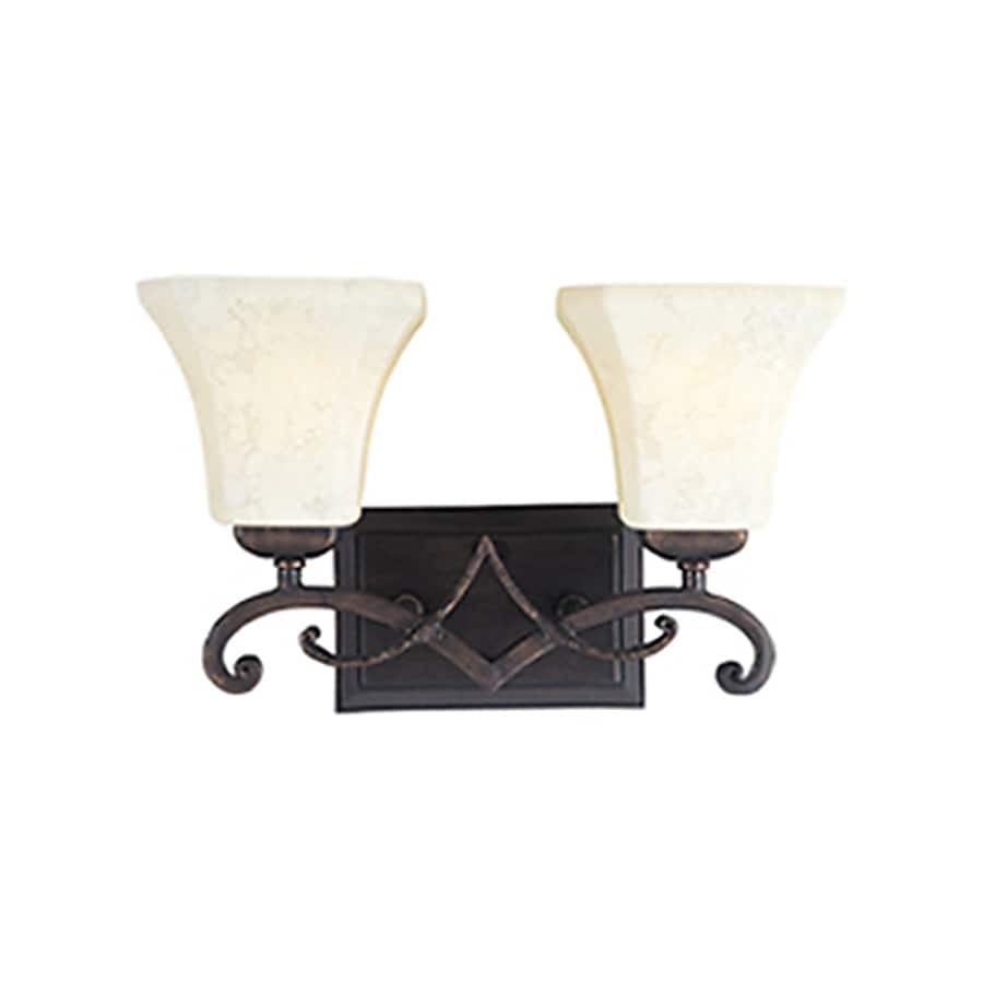 Pyramid Creations Oak Harbor 2-Light 9.5-in Rustic Burnished Bell Vanity Light