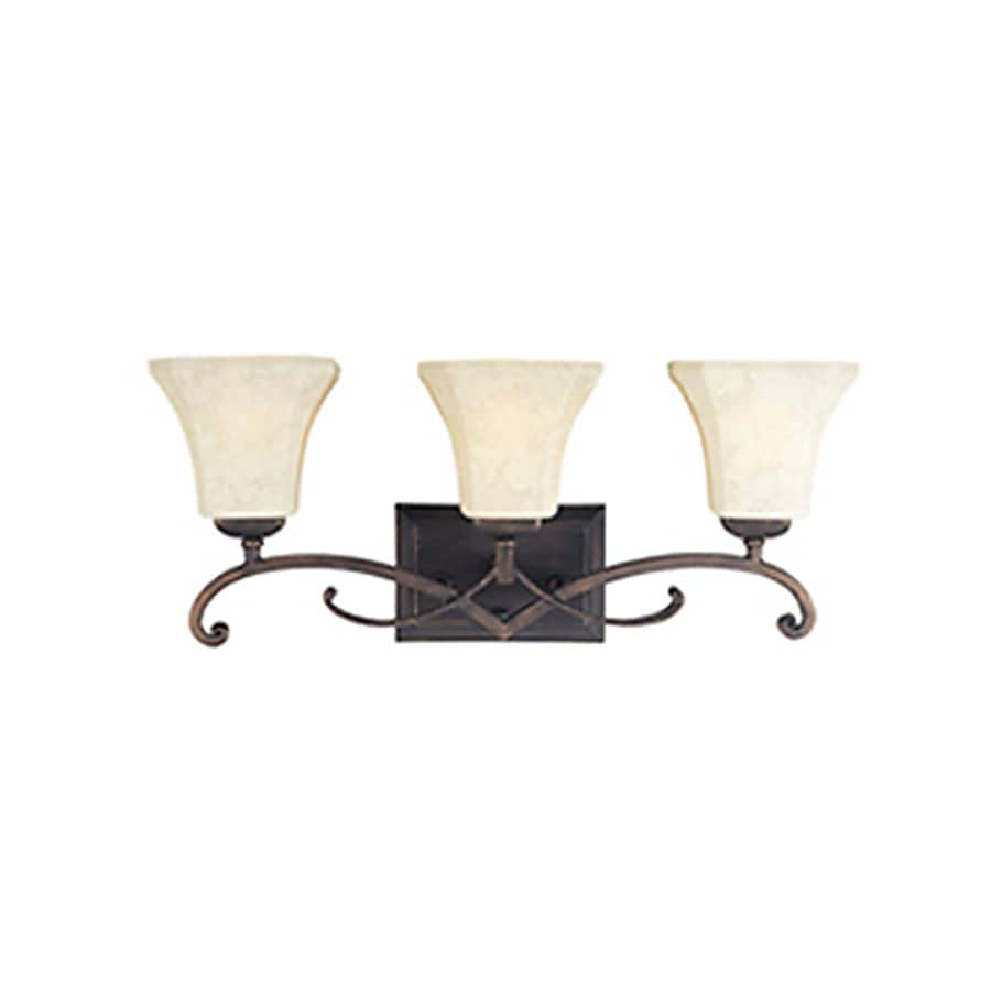 Pyramid Creations Oak Harbor 3-Light 9.5-in Rustic Burnished Bell Vanity Light