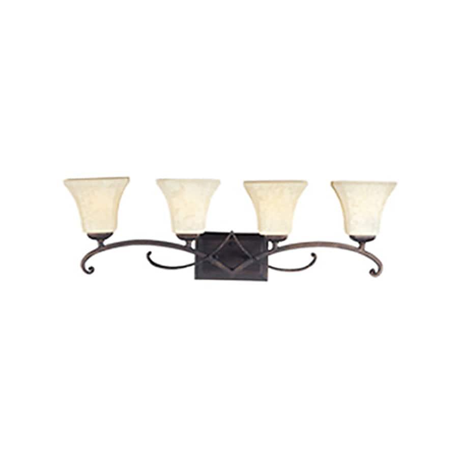 Pyramid Creations Oak Harbor 4-Light 9.5-in Rustic burnished Bell Vanity Light