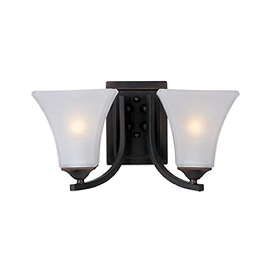 Pyramid Creations Aurora 2-Light 7-in Oil-Rubbed bronze Bell Vanity Light
