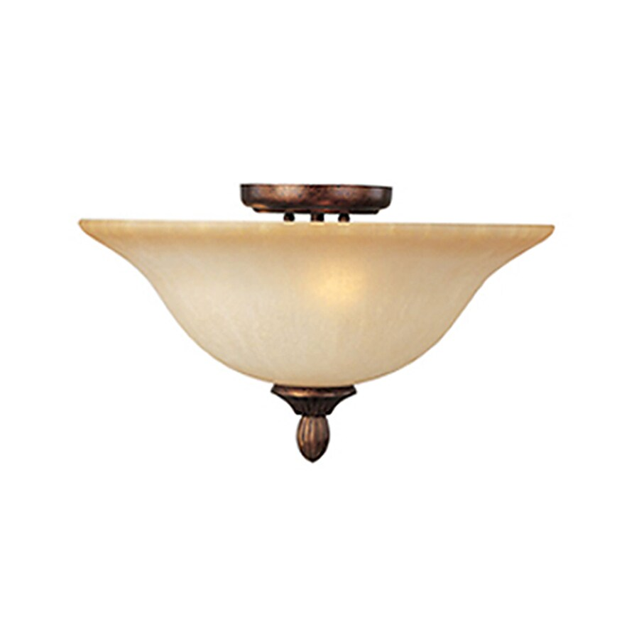 Pyramid Creations Sausalito 16-in W Filbert Frosted Glass Semi-Flush Mount Light