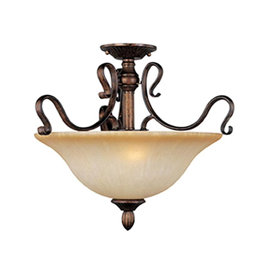 Pyramid Creations Sausalito 18-in W Filbert Frosted Glass Semi-Flush Mount Light