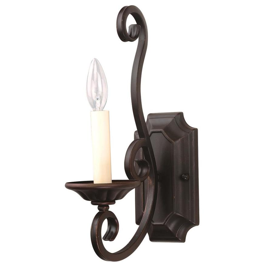 Wall Sconces Location : Shop Pyramid Creations Manor 7-in W 1-Light Bronze Arm Wall Sconce at Lowes.com